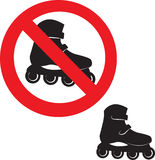 Prohibited Sign. Roller skate icon. Stock Photo