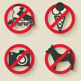 Prohibited signs icons Stock Photos