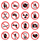 Prohibited Signs illustration  on white background Royalty Free Stock Photo