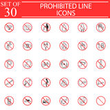 Prohibited signs line icon set, Forbidden symbols Royalty Free Stock Photos