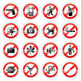 Prohibited signs set Royalty Free Stock Image