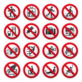 Prohibited signs, set Royalty Free Stock Photos