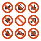 Prohibited Signs Set. Vector Royalty Free Stock Photos