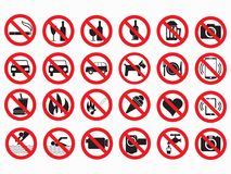 Prohibited signs vector set. No alcogol, no smoking, no cell, no photo, no video, no parking and other royalty free illustration