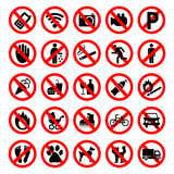 Prohibited Signs Vector. Royalty Free Stock Photography