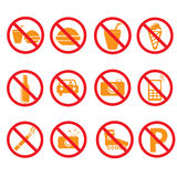 Prohibited symbols set signs, Royalty Free Stock Photos