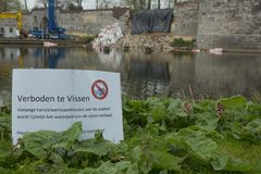 Prohibited to fish due to collapsed fortified wall stock photography