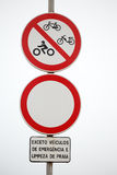 Prohibited traffic signs along beach access Stock Photography