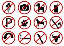 Prohibited vector signs. Isolated on white background Stock Image