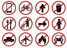 Prohibited vector signs. Isolated on white background Stock Photography