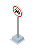 Prohibiting Car Road Sign Vector Illustration. Royalty Free Stock Images