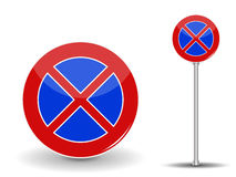 Prohibiting parking. Red and Blue Road Sign. Vector Illustration Royalty Free Stock Photo