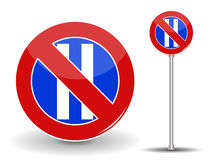 Prohibiting parking. Red and Blue Road Sign. Vector Illustration. Royalty Free Stock Photos