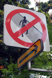 Prohibiting pedestrian road sign with arrow symbol Stock Images