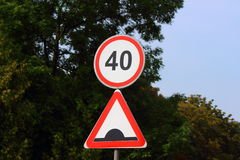 Prohibiting road sign. Road sign, which indicates the maximum speed limit Stock Photography