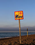 Prohibiting sign on the beach Stock Image