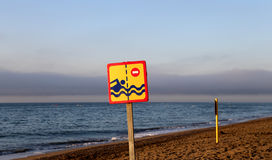 Prohibiting sign on the beach. Costa del Sol (Coast of the Sun), Malaga in Andalusia, Spain Royalty Free Stock Image