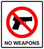 Prohibiting sign for gun. No gun sign. Vector illustration Stock Photos