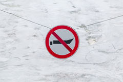 Prohibiting sign Movement of small watercraft is prohibited. Hanging over the frozen canal Stock Image