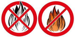 Prohibiting sign, no fire emblem hand drawn vector illustration realistic sketch.  Royalty Free Stock Photos