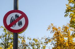 Prohibiting sign in the Park stock photography