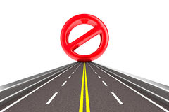 Prohibiting sign on road Royalty Free Stock Photos