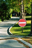 Prohibiting sign on the road Royalty Free Stock Image