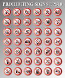 Prohibiting signs. The big collection of prohibiting signs of a general purpose Stock Image
