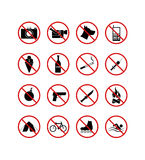 16 prohibiting signs icons. Isolated vector illustration
