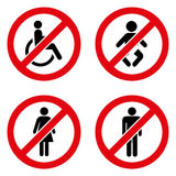 Prohibiting signs icons set great for any use. Vector EPS10. Stock Photos
