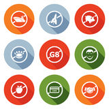 Prohibiting signs Icons Set. Vector Illustration. Royalty Free Stock Photo