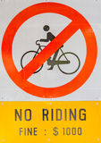 Prohibiting signs no-bikes on the overpass white isolated background. Royalty Free Stock Images