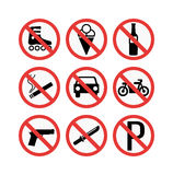 prohibiting signs set  illustration Royalty Free Stock Photography