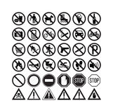 prohibiting signs set  illustration Stock Photo