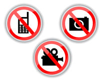 Prohibiting signs with telephone, video and photo camera Royalty Free Stock Images