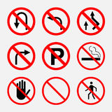 Prohibiting signs, traffic on the road, no smoking, stop, parkin Stock Images