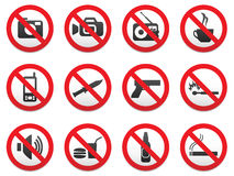Prohibiting signs vector format. Set Royalty Free Stock Photo