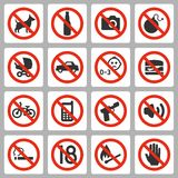 Prohibiting signs vector icons Stock Photos