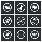 Prohibiting signs Vector Icons Set Royalty Free Stock Photo