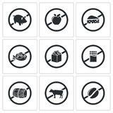 Prohibiting signs Vector Icons Set Royalty Free Stock Image