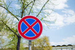 Prohibiting Traffic Sign. Stop Is Forbidden Sign Closeup On A Sunny Day With Tree In The Background Stock Photography