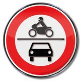 Prohibition for all motorcycles and cars. On this street Royalty Free Stock Photography