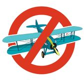 Prohibition of biplane. Strict ban on construction of aircraft, forbid. Stop World War. Old retro vector aircraft, isolated. Prohibition of biplane. Strict ban Royalty Free Stock Photos