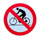 Prohibition bycicle warning sign isolated Royalty Free Stock Images