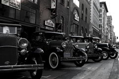Prohibition cars. A collection of prohibition era cars in black and white Stock Image
