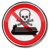 Prohibition container ship with toxic waste Stock Image