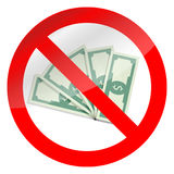 Prohibition of corruption and cash symbol Royalty Free Stock Image