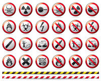 Prohibition Danger sign. Red prohibition sing collection with reflection and shadow on white background Stock Image