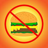 Prohibition to eat a delicious and appetizing burger with a cutlet and other ingredients. Prohibition of eating appetizing burger with a cutlet and other Royalty Free Stock Photography
