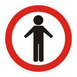 Prohibition of entry to pedestrians, traffic sign, vector icon. Black figure at red circle frame Stock Photo